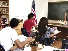 Black college babe become slut in classroom entertaining BBC classmates
