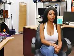 Beautiful black babe Brittney White ride a huge stiff cock in the shop