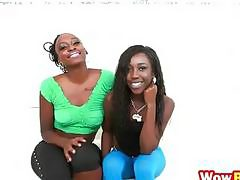 Black girls Naomi Gamble and Molleuex Au Chocolat show sexy butts and share white dick