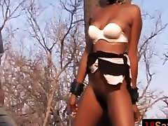 Mature African girlfriend whipped hairy pussy by two junkie Safari guide dude