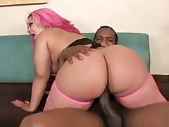 Pinky  Fat Black Bitch Riding On Big Black Cock