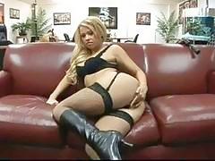 Tiny Brooke Scott rides a huge black monster cock then licks away love gravy