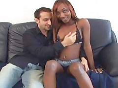Ebony teen Cameron pleasures a big white cock