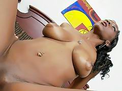 Busty ebony nymph ravaged by huge white boner