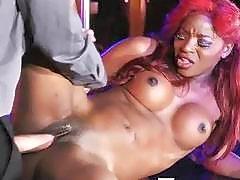 Redhead Ebony Babe Nailed by White Guy
