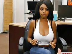 Ebony with big tits shows off ass and boned by pawn man