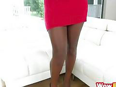 Big ass ebony Camille Amore seduces white man with her irresistible curves