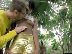 Beautiful small tit ebony teen enjoys rough fuck with a horny white stud